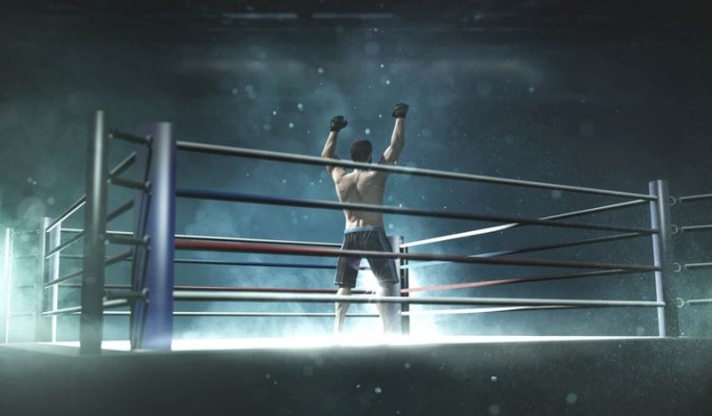 Boxer in a boxing ring